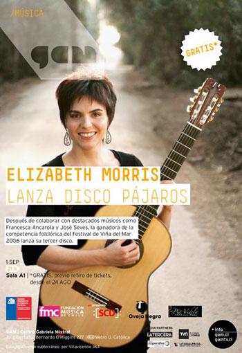 Cartel del concierto de presentación de «Pájaros» de Elisabeth Morris.