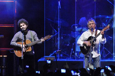 Raly Barrionuevo y Horacio Banegas en la grabación del disco «El color de la chacarera» el pasado primero de septiembre. © Eduardo Fisicaro