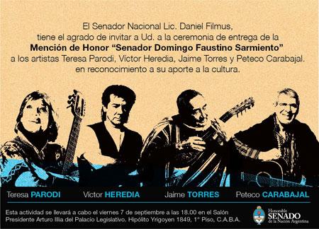 Inivtación a la entrega de la Mención de Honor «Domingo F. Sarmiento» a Peteco Carabajal, Víctor Heredia, Teresa Parodi y Jaime Torres.