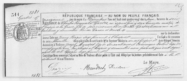 Partida de nacimiento de Charles Romuald Gardes. © Archivos municipales del Ayuntamiento de Toulouse.