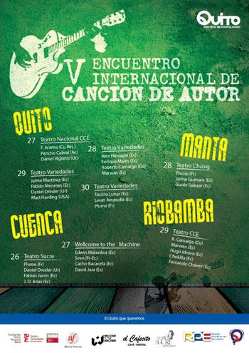 Cartel del V Encuentro Internacional de Canción de Autor 2012, Ecuador.