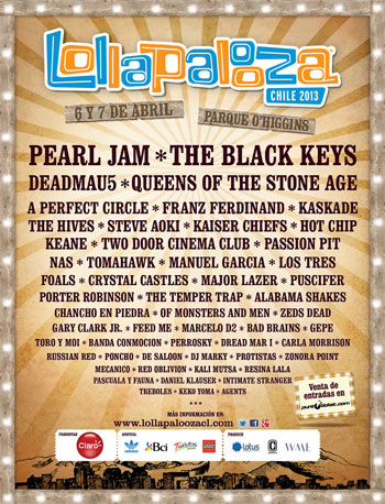 Cartel del Lollapalooza Chile 2013
