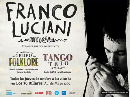 Cartel de los conciertos de Franco Luciani en Los 36 billares.