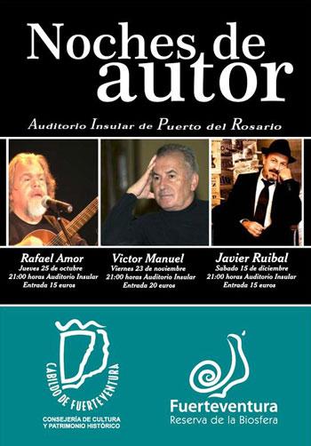 Cartel del Ciclo «Noches de Autor» en Fuerteventura.