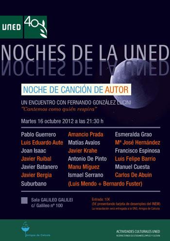 Cartel del concierto «Las Noche de la UNED» en homenaje a Fernando González Lucini.
