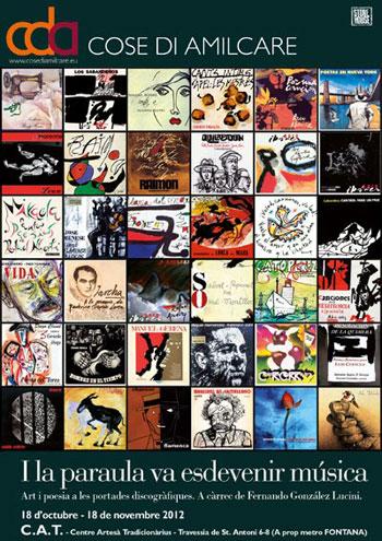 Cartel de la exposición «I la paraula va esdevenir música. Art i poesia a les portades discográfiques» (Y la palabra se hizo música. Arte y poesía en las portadas discográficas).