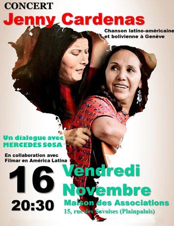 Cartel del concierto «Conversando con Mercedes Sosa» de Jenny Cárdenas.