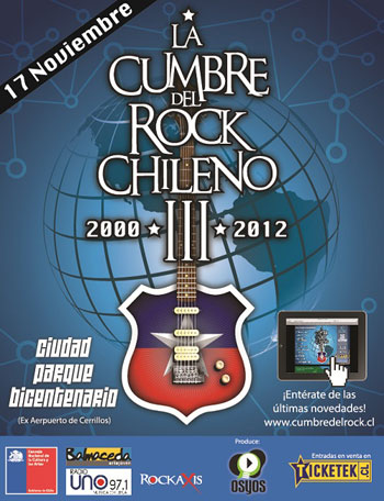 Cartel de la III Cumbre del Rock Chileno 2012.
