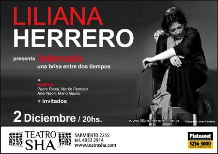 Lliliana Herrero en el Teatro Sha de Buenos Aires.
