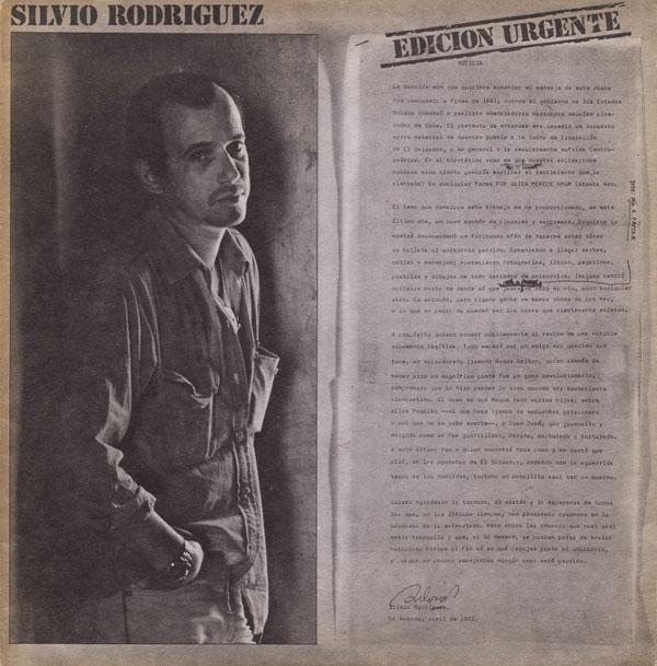 Portada de la primera edición del disco de Silvio Rodríguez «Unicornio» que llevó por título «Edición urgente».