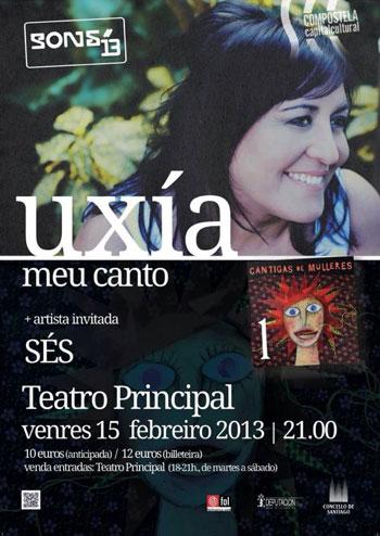 Cartel del concierto de Uxía en el ciclo «Cantigas de mulleres».