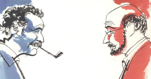Dibujo de Alfons López para la portada del disco «Brassens, llum i ombra».
