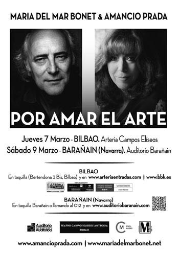 Cartel del concierto «Por amar el arte» de Maria del Mar Bonet y Amancio Prada.