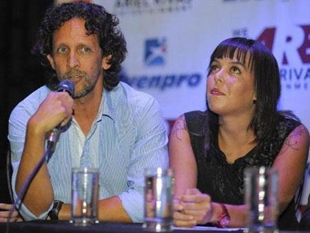 Jaime Gamboa y Daniela Rodríguez en la rueda de prensa.