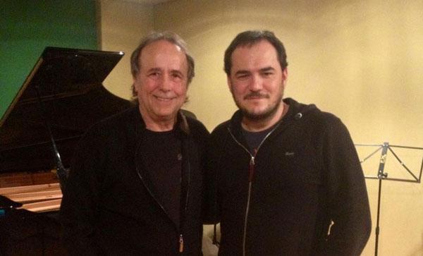 Joan Manuel Serrat e Ismale Serrano tras la grabación del tema.