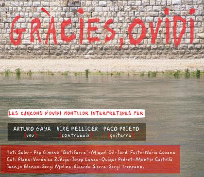 Portada del disco «Gràcies, Ovidi» de Arturo Gaya, Kike Pellicer y Paco Prieto.