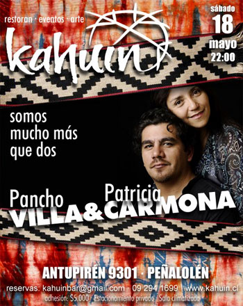 Cartel del concierto «Somos mucho más que dos» de Francisco Villa y Patricia Carmona.