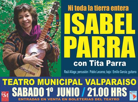 Cartel del concierto de Isabel Parra en Valparaíso.