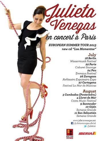 Cartel de la Gira europea «Los momentos» 2013 de Julieta Venegas.