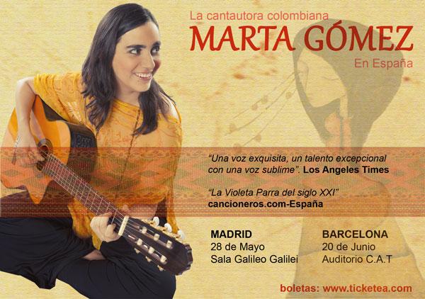 Cartel de los conciertos de Marta Gómez en Madrid y Barcelona.