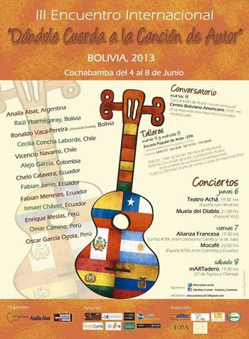 Cartel del III Encuentro Internacional «Dándole Cuerda a la Canción de Autor» 2013.
