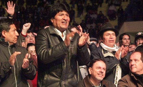 El presidente boliviano Evo Morales asistió al concierto de León Gieco en El Alto (Bolivia). © ABI/Enzo De Luca