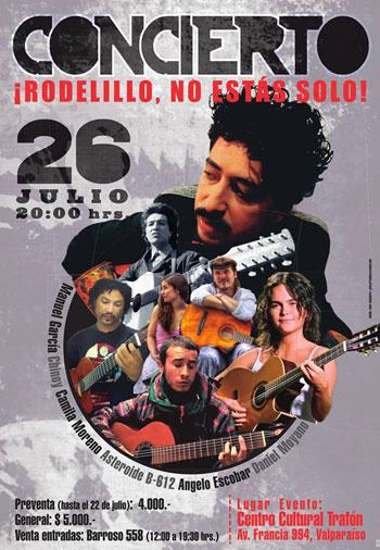 Cartel del concierto «¡Rodelillo no estás solo!».