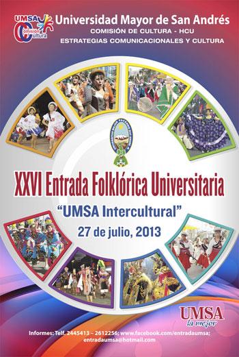 Cartel de la XXVI Entrada Folclórica Universitaria de la UMSA.