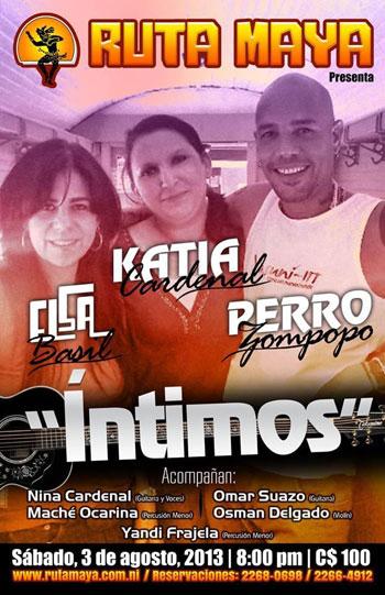 Cartel del concierto «Íntimos» de Katia Cardenal, Elsa Basil y Perrozompopo.