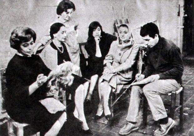 Víctor Jara con «sus actrices»: Kerry Keller, Carmen Bunster, Bélgica Castro, Marés González y María Cánepa.