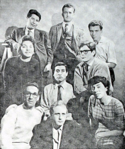 Integrantes de «Nuevo Teatro». Víctor Jara en el centro.