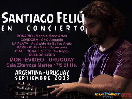 Cartel de la gira Argentina-Uruguay de Santiago Feliú.