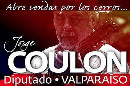 Afiche de Jorge Coulón como candidato a diputado por Valparaíso. © del afiche Víctor Vega Risso, de la fotografía Xavier Pintanel/CANCIONEROS