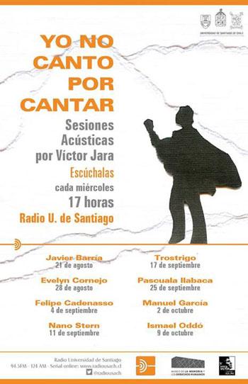 Cartel del ciclo «Yo no canto por cantar: Sesiones acústicas por Víctor Jara».