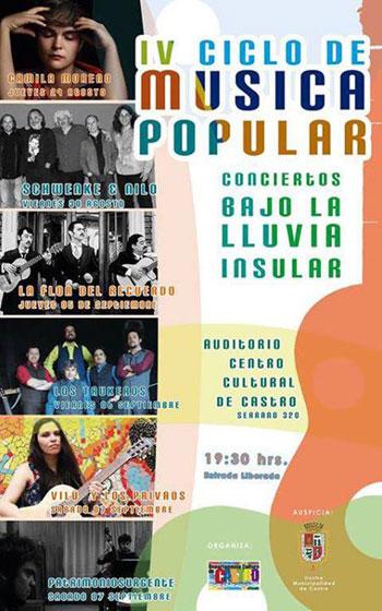 Cartel del IV ciclo de música popular «Conciertos bajo la lluvia insular».