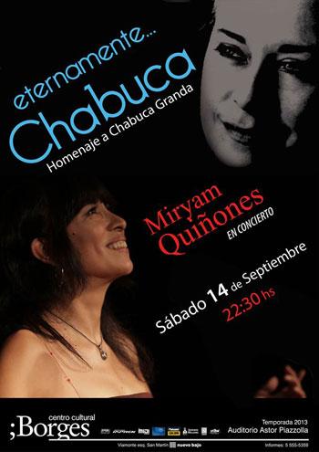 Cartel del concierto «Eternamente, Chabuca» de Miryam Quiñones.