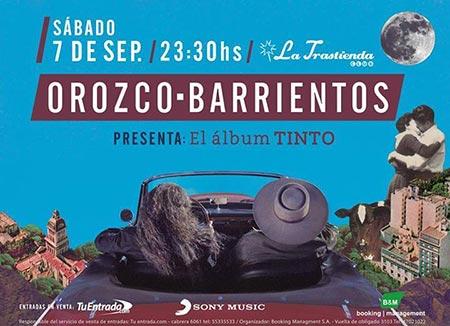 Cartel del concierto del dúo Orozco-Barrientos en La Trastienda de Buenos Aires.