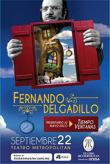 Cartel de la presentación de Fernando Delgadillo en el Teatro Metropólitan.
