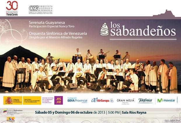 Cartel del concierto de Los Sabandeños en el Teresa Carreño.