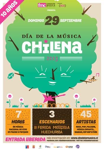 Cartel de X Día De La Música Chilena.