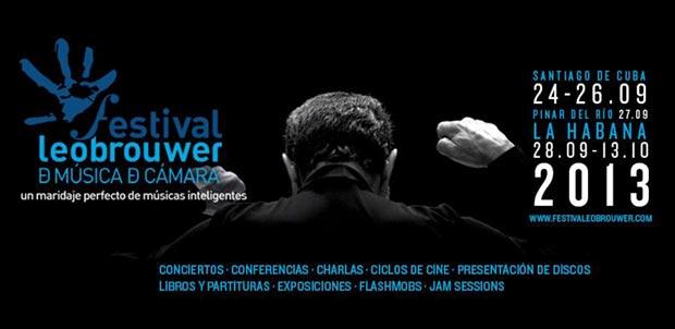 Cartel del V Festival Leo Brouwer de música de cámara.