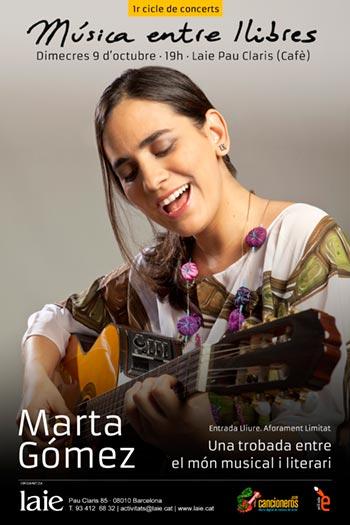 Cartel del concierto de Marta Gómez en el I Ciclo de conciertos «Música entre libros».