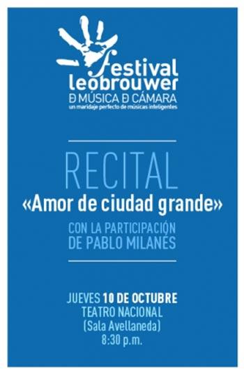 Cartel del concierto «Amor de ciudad grande» en el Festival Leo Brouwer.