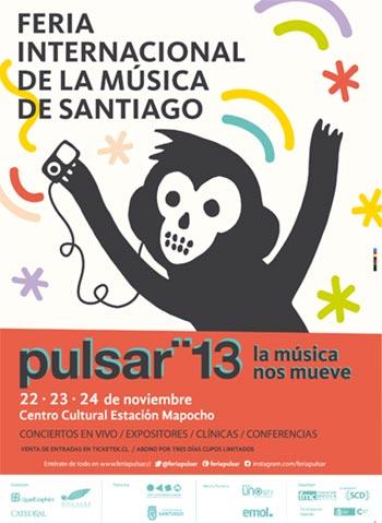 Cartel de la IV Feria Internacional de la Música de Santiago Pulsar 2013.