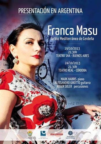 Cartel de la gira argentina 2013 de Franca Masu.
