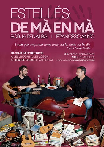 Cartel del espectáculo «Estellés: De mà en mà» de Borja Penalba y Francisco Anyó.