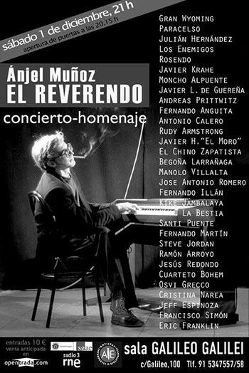 Cartel del concierto celebrado en la Sala Galileo Galilei de Madrid el 1 de Diciembre de 2012 en homenaje Ánjel Muñoz El Reverendo.