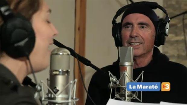 Estrella Morente y Lluís Llach en la grabación de la canción «Vida». © TV3