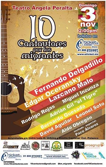 Cartel del concierto 10 Cantautores por los migrantes.