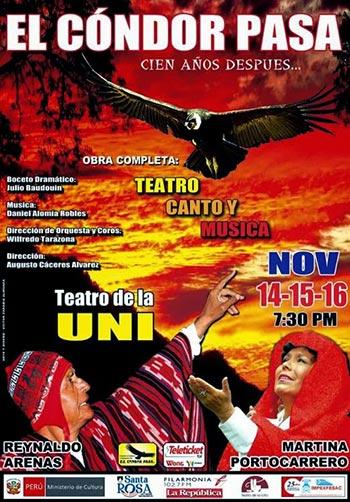 Cartel de la zarzuela «El cóndor pasa».